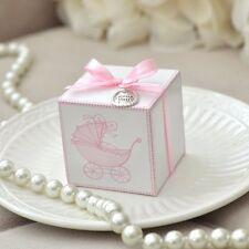 10 Vintage Pink Baby Carriage Favor Boxes w/ Thank You Charm & Self Stick Ribbon