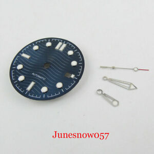 Blue 31mm Nologo Watch Dial With Date Window + Watch Hand Fit MIYOTA Movement