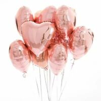 "10PCS Rose Gold 18"" Foil Heart Balloon Set Helium Wedding Party Birthday Decor"