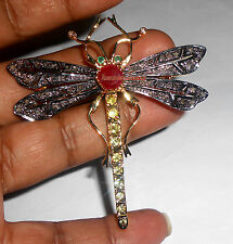 Antique Rose Cut Diamond 1.28ct Silver 925% Ruby Peridot Butterfly Design Brooch