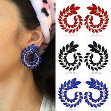 Fashion Spiral Leaves Crystal Earrings Women Rhinestone Ear Stud Wedding Jewelry