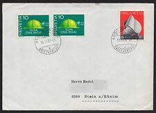 Switzerland: Cover with Sculpture stamp and pair of 1968 10c publicity stamps