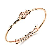 18K Rose Gold Plated Bracelet  Bangle Beads AAA Cubic Zirconia Women's G139