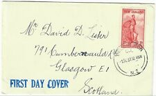 NEW ZEALAND 1937 HEALTH STAMP ON  PLAIN FDC WELLINGTON PMK TO SCOTLAND