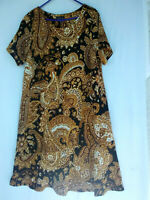 NWOT Violet B Gold Paisley Women's  Dress with Short  Sleeves Size 2X