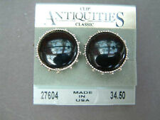 Clip-on Earrings - Round with Black Stone by Antiquities NEW
