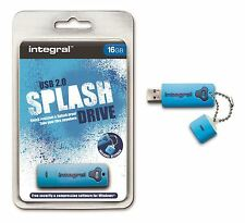 Integral 16GB Splash - Rubberised Water Resistant USB Stick in Blue.