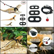 Bearded Dragon Harness and Leash Adjustable 3 Pack Soft Leather Reptile Lizard