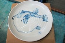 Large Blue and White Oriental Chinese Japanese Fish Plate