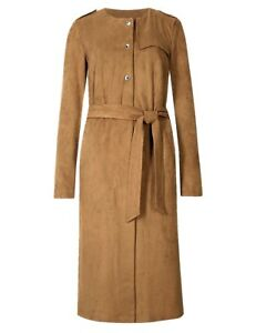 MARKS & SPENCER PER UNA TAN / CAMEL SUEDETTE DUSTER COAT SIZES 8 to 22