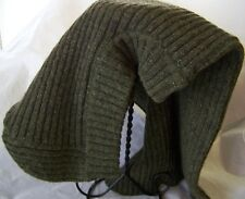 Sweater Head Cover Christys Scarf Hat Olive Green Ribbed One Size