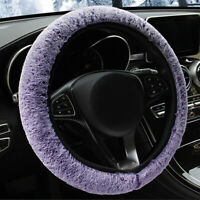 Soft Plush Real Fur Wool Steering Wheel Cover Furry Fluffy Car Accessory 1Pc