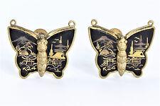 Vintage Damascene K24 Black Gold & Silver Mt. Fuji Asian Butterfly Earrings