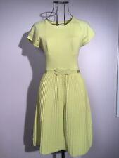 PAULE KA Citron Fit & Flare Knit Dress M/L Cable Knit Grosgrain Ribbon