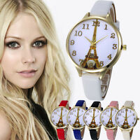 Fashion Women Stainless Steel Leather Analog Quartz Dial Girl Dress Wrist Watch