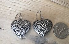 Vintage Sterling Silver See Through Heart Hand Wrought Earrings