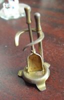 Vintage Brass Metal Dollhouse Miniature Fireplace Tool Holder w Shovel 1 1/2""