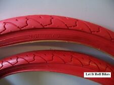 "PAIR BICYCLE TIRES 26"" X 1.95 STREET TREAD MTB RED DURO NEW!"