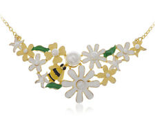 Bumble Bee Carnation Floral Spring Flower Pearl Beaded Collars Fancy Necklace