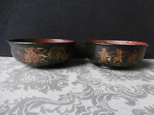 CHINE Paire de bols anciens en bois et laque motif de Samouraïs Old Chinese bowl