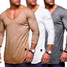5c66c0bfacc4 Behype Herren Oversize Longsleeve T-Shirt Sweatshirt Longline Pullover NEU