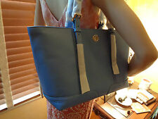 NWT TORY BURCH LANDON Buckle PEBBLED Leather TOTE Med BLUE DUSK  DUSTBAG $495