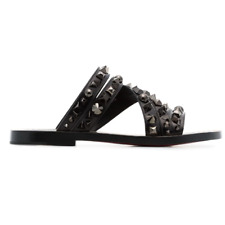 NIB Christian Louboutin Desertok Black Leather Studded Slip On Slides Sz 40 US 7
