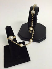 14Kt Yellow Gold Pearl Bracelet and Ring Set 8.6g.