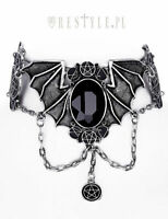 Restyle Bat Choker Gothic Emo Occult Silver Collar Pendant Necklace