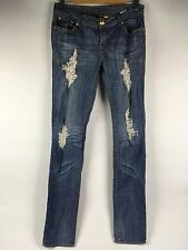 32X34 Apple Bottom 7/8 Stretch Taper Skinny Leg Distressed Punk Rock Denim Jean