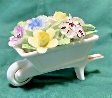 Vintage Royal Doulton Bone China Wheelbarrow of Applied Flowers
