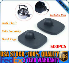 500x Eas Security Hard Tag Supermarket Mangetic Anti-Theft Buckle +Pins Us Stock