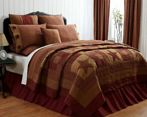 12-pc QUEEN Ninepatch Star Complete Quilt Set - Hand Quilted Throw - Chair Pad
