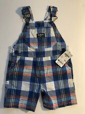 Oshkosh Bgosh New Boys Size 12 Mo Plaid Shorts Overalls...
