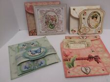 Lot of 4 Elegant Handcrafted Greeting Cards Layered 3-D with Envelopes