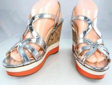 Auth $890 PRADA Metallic Leather Strappy Wedge Cork Sandal Womens Shoes 39.5 9.5