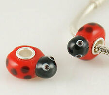 1 red ladybird ladybug glass bead charm bracelet pugster european insect animal