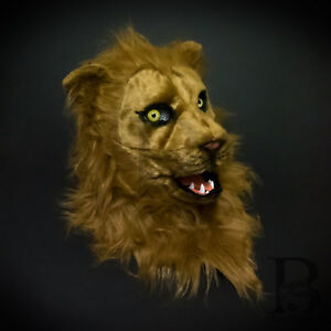 Over the Head Brown Lion Costume Moving Mouth Masquerade Mask