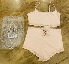 Victoria's Secret 2-Piece Sleep Set Sexy Shorts Crop Top Lace Flower Small NWT