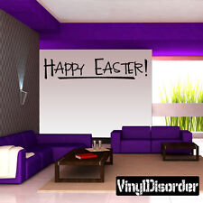 Happy Easter Holiday Vinyl Wall Decal Mural Quotes Words -hd082