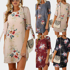UK Womens Cocktail Loose Ladies Beach Holiday Jumper Floral Shift Mini Dress