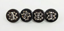 Antique Buttons Set of 4 Black Glass Inset Faceted Cut Steels Brass Loop Shanks