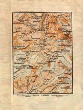 Carta geografica antica SVIZZERA Lauterbrunnen Old Map Switzerland Suisse 1905