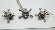 Skull and Cross Bones Necklace and Earrings Set, English Pewter, Gift Boxed (wa)