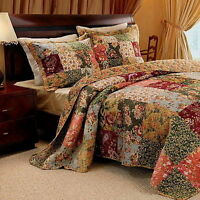French Country Floral Patchwork Cotton 3 Piece Quilt Set Twin Full/Queen King