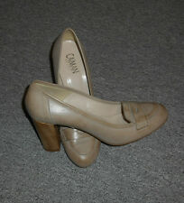 20 4/5c CAIMAN Designer Pumps Shoes Size 40 Leather gray beige used Heel 8 cm