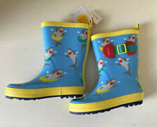 Toddler Boys Yellow Shark Rain Boots Size L 9/10 Cat And Jack
