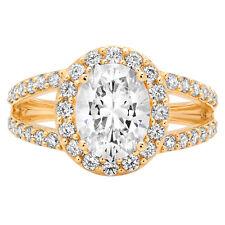Corte oval 2.04ct Casamento Noivado prometam Halo Anel Solitário Ouro Amarelo 14k