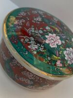 Japanese Style Peacock Trinket Dish Circle Floral Green Red Jewellery Holder