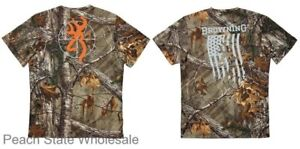 Men's NWT Browning Scope OR Buckmark Flag Tee Realtree Xtra Camo T-Shirt S-3XL